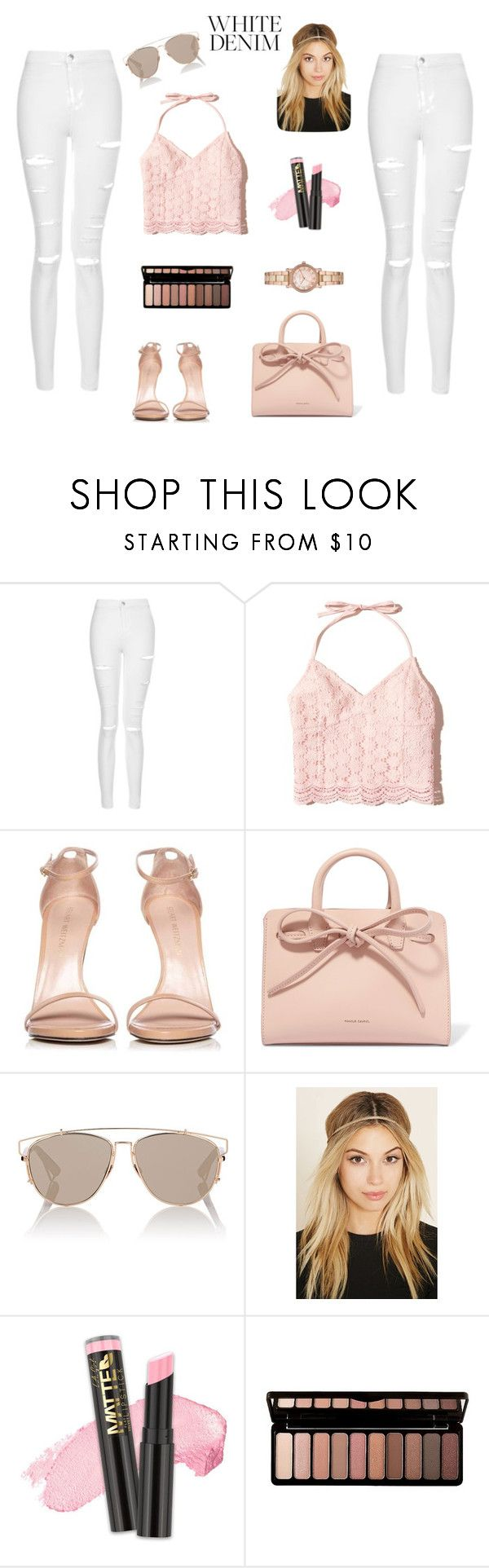 """""""White Denim"""" by california-cheerleader ❤ liked on Polyvore featuring Topshop, Hollister Co., Stuart Weitzman, Mansur Gavriel, Christian Dior, Forever 21, L.A. Girl, e.l.f. and Michael Kors"""