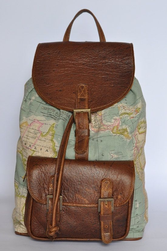 Genuine Leather and World Map Atlas Print Backpack by DoubleEdge... Got this for Christmas and I LOVE IT!!