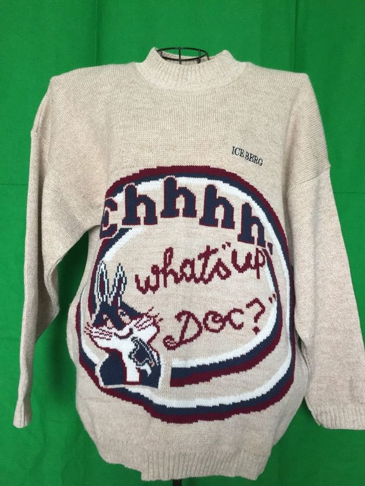 vtg ICEBERG JEANS Bugs Bunny What's up Doc? sweater pullover SZ;XXL 2XL #Iceberg #Crewneck