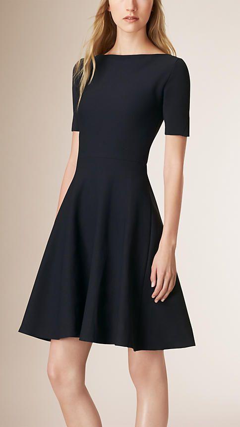 Navy Slash-Neck A-line Dress - Image 1