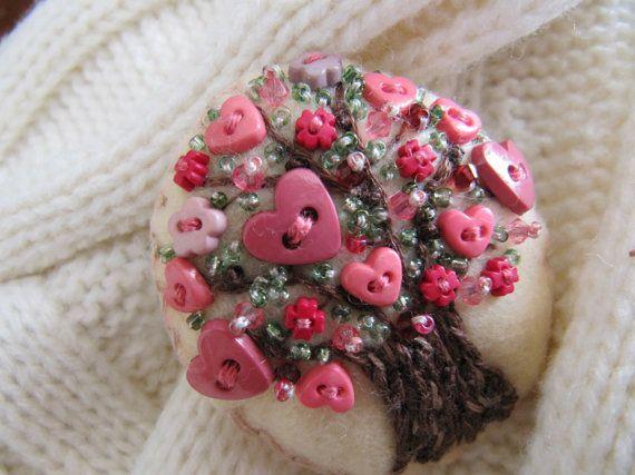 Felt Brooch  Heart Blossoms Summer Tree by MrsNeedleton on Etsy