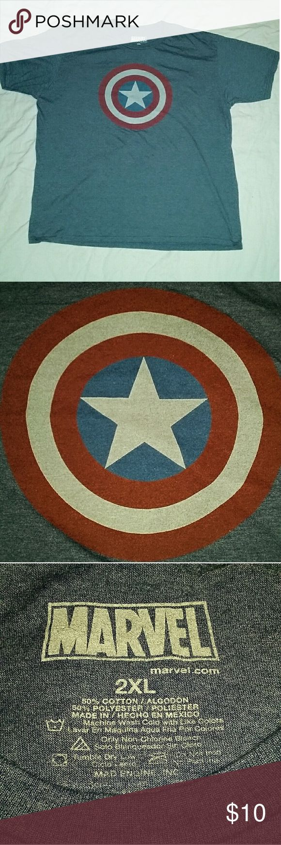 Mens Marvel Captain America 2XL Shirt Captain America 2XL Shirt. Pre-owned but in Great Condition.   50% Cotton  50% Polyester Marvel Shirts