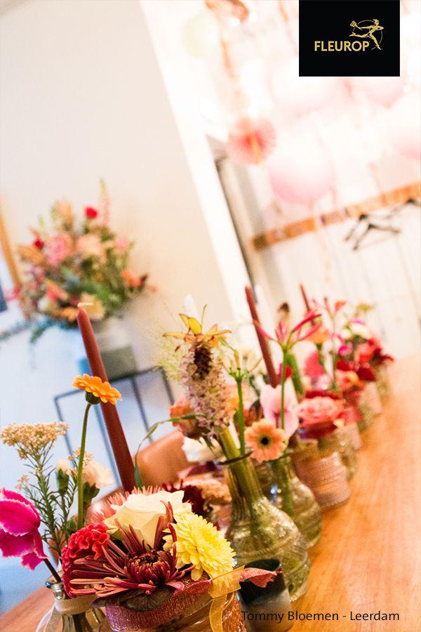 Sfeervolle Tafeldecoratie Bloemen Bezorgen Bloemen Kleurrijke Bloemen