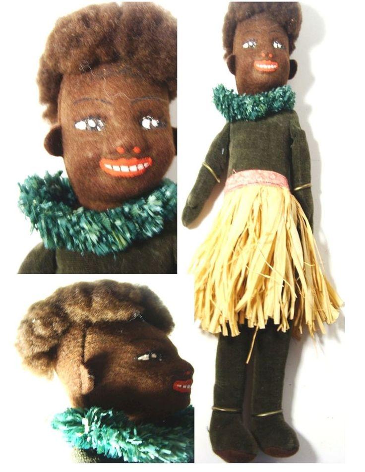 Old Primitive Black American Hawaii Doll Rag Cloth Handmade Native Grass Skirt A