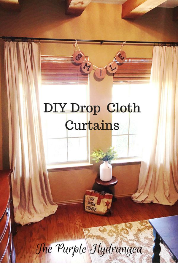 My DIY drop cloth curtains are no sew and so easy.