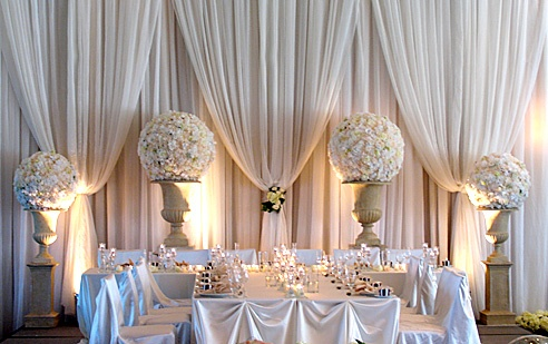 Gorgeous draping backdrop for the head table or buffet table