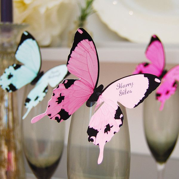 Butterfly Wine Glass Place Card, 8 colour options | Eagle Eyed Bride