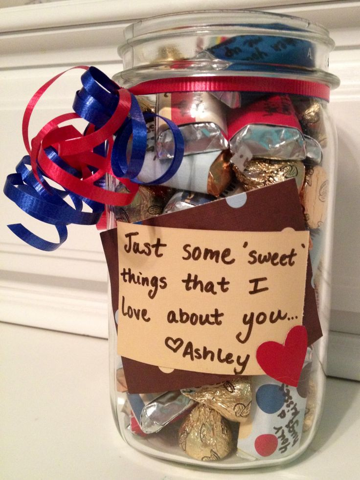 Just a little gift for my boyfriend to show him I love him. Each candy has something written on it. Super easy and inexpensive!