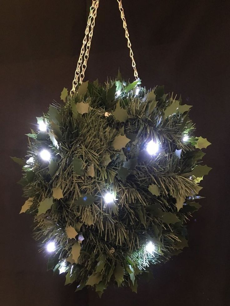 Large Artificial Hanging Topiary Balls Flowers Lights Green Ball Holly Ivy Bay #BALL