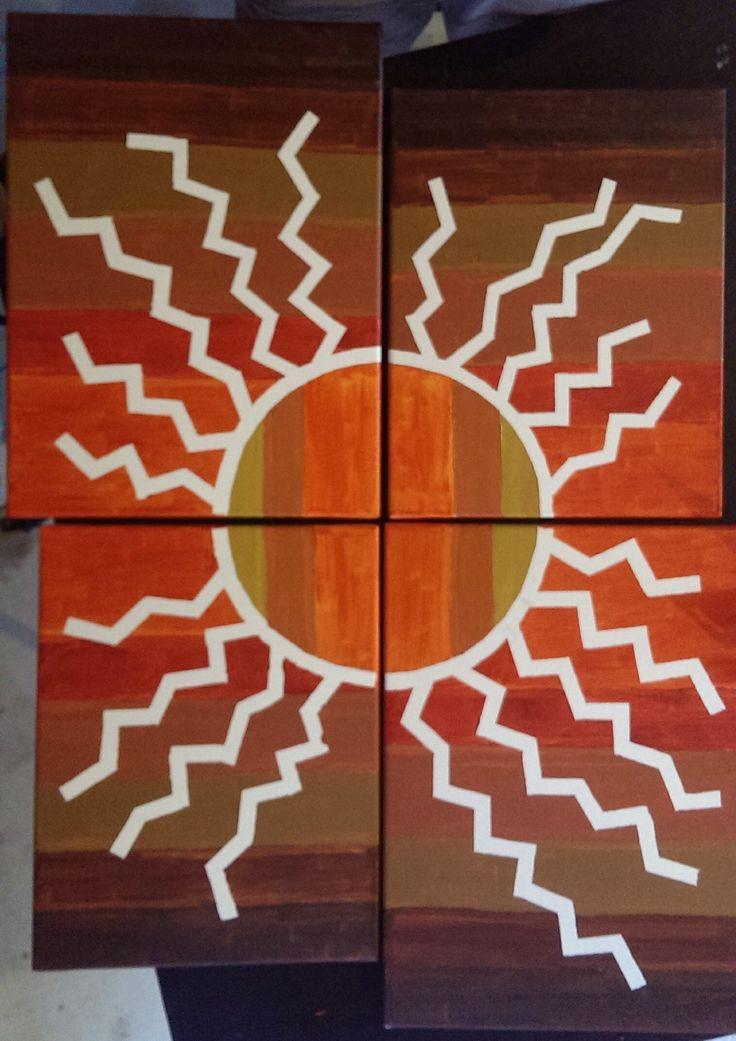 Sun, acrylic on four canvas by @Erick Gutierrez