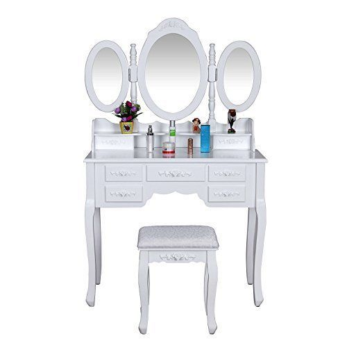 White Vanity Set with Stool Makeup Dressing Table  | eBay  Are you looking for a unique but practical vanity set? Then try this Songmics marvelous product. Made of high-quality wood, this big makeup dressing table is rather stable and durable. You will be attracted by its delicate craft and lovely appearance.