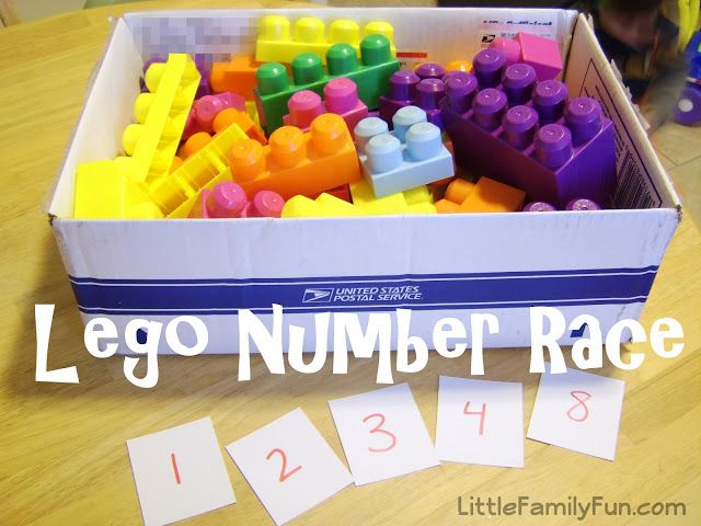 Counting Game have kids count knobs on Lego and run as fast as kid can to match it to correct number