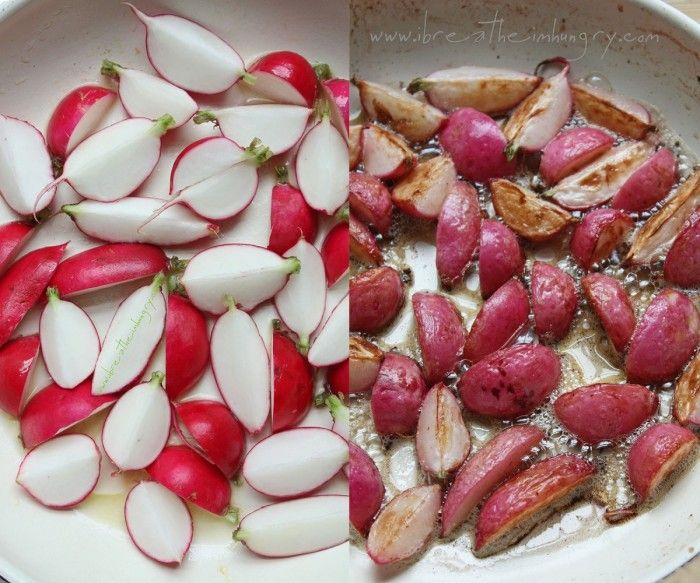 Pan Roasted Radishes with lemon and chives - only 122 calories and 2.75g net carbs per 3/4 cup serving. #radishes #vegetables #low_carb #keto #paleo