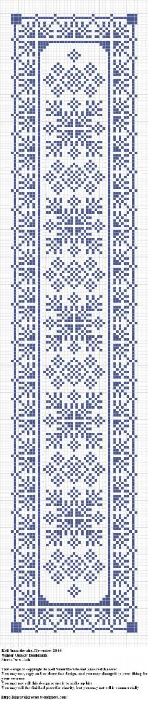 Winter Quaker Bookmark. De punto de cruz, marcapáginas cuáquero con motivos de invierno