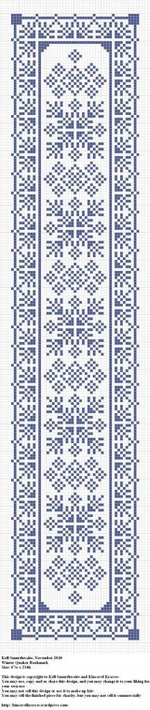 Winter Quaker Bookmark. De punto de cruz, marcapáginas cuáquero con motivos de invierno
