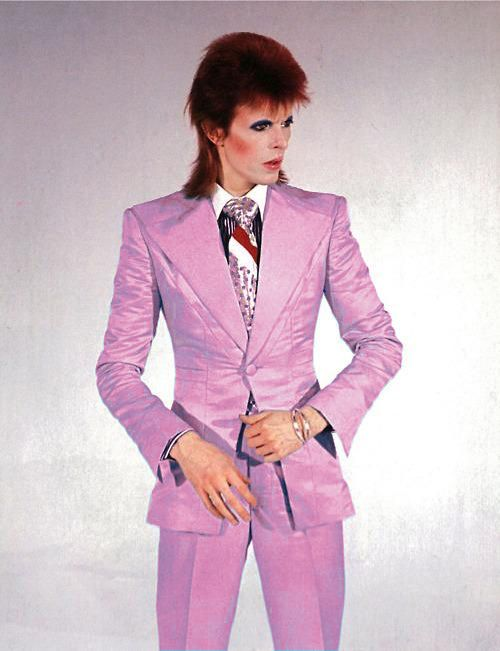 "David Bowie during video shoot, filmed by Mick Rock, for ""Life on Mars?""......Freddie Burretti suit, 1973"