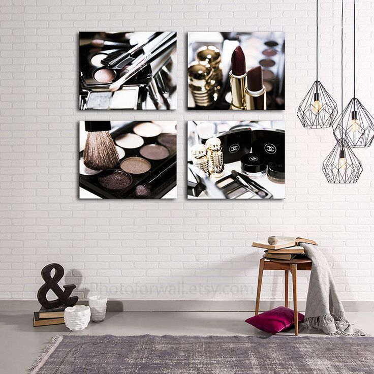Chanel Makeup Bathroom Decor Set Of 4 Boho Canvas Print Bathroom Art Large Canvas Art Bathroom Set Bathroom Wall Decor Bathroom Wall Art