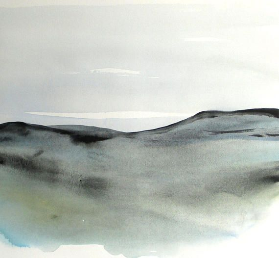 Large Original Abstract Landscape Watercolor painting, Contemporary Landscape Watercolor, Large Modern Watercolor, blue abstract.