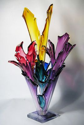 Like this piece - shards of colored glass in an arrangement - neat - Barry Entner Glass Artist