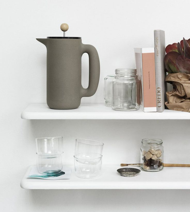 17 Modern Coffee Makers That You'll Want To Show Off // The smooth matte finish of this coffee press and the round knob on top of the plunger gives this press a minimalist look, and makes it easy to get a good grip as you send the plunger down to the depths.