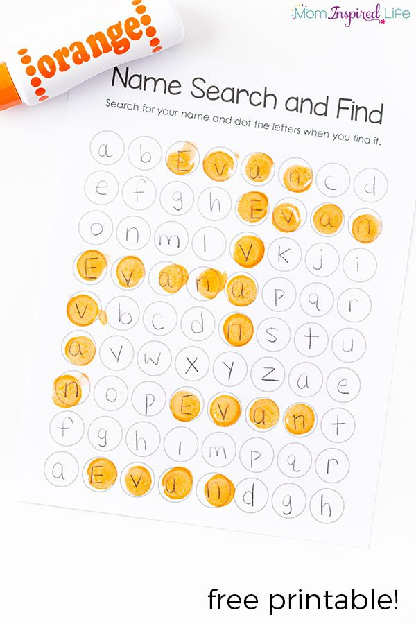 Teach kids to recognize and spell their name with this hands-on name search activity and printable!