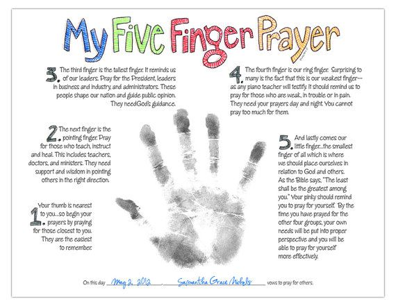 My Five Finger Prayer hand print watercolor art print for kids by Marley Ungaro