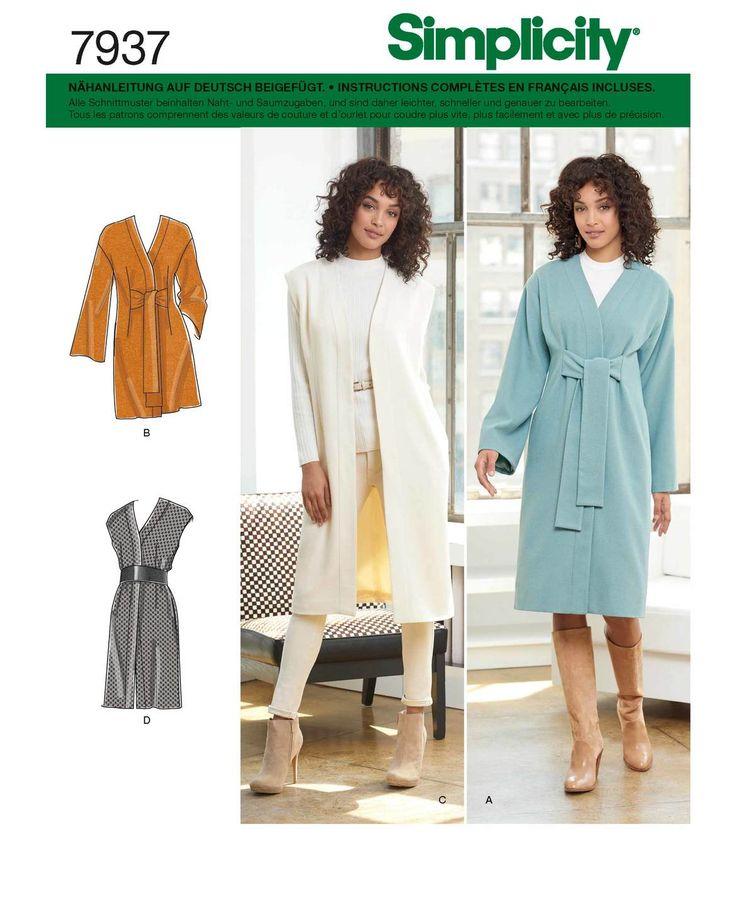 Hier enthalten sind ein Mantel und eine Longweste in je zwei verschiedenen Längen. Geschlossen wird der Mantel durch nach vorn gebundene Bänder, welche einen schicken modernen Look ergeben. In dem Schnittmuster ist ebenfalls eine Anleitung enthalten, wie die Schnitte für Kurz-/Petite-Größen angepasst werden können. Enthalten sind die US-Damen Größen 16-24, was etwa den Größen 42-50 entspricht.