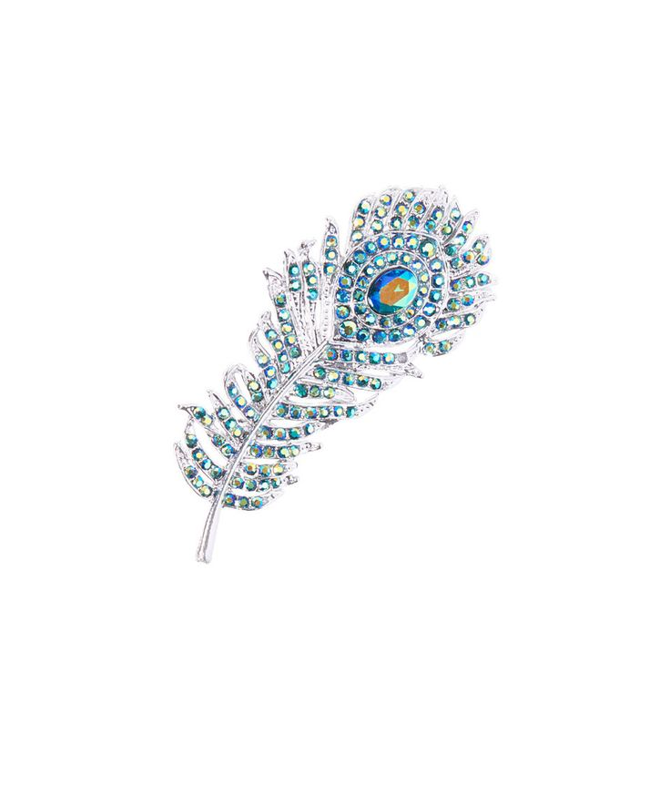 Take a look at this Styled By Q Green Crystal & Silvertone Peacock Feather Brooch today!