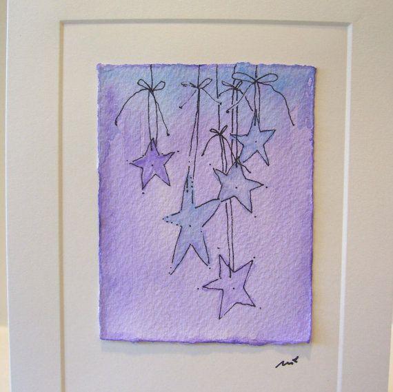 "Watercolor Card Original ""Twilight "" Handpainted With Envelope betrueoriginals"
