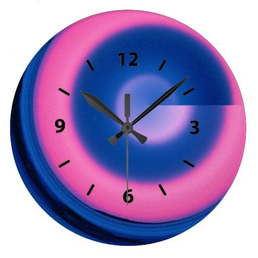 Crazy Neon Pink and Blue Swirl Round Clock
