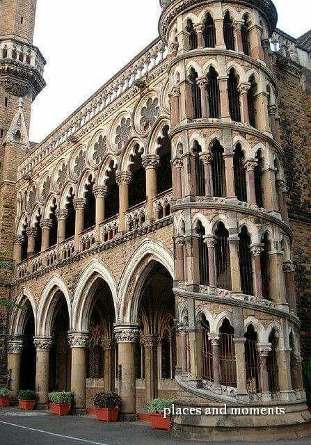 Library building in Venetian Gothic style, University of Mumbai, Mumbai, India.