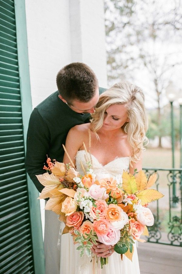 Southern Wedding Inspiration with a Fall Folaige Bouquet | Tracy Burch Photography on @perfectpalette via @aislesociety