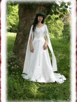 White Medieval Long Sleeves Wedding Dress Vows And Such