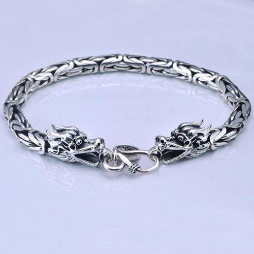 Men's Sterling Silver Byzantine Chain Dragon Bracelet