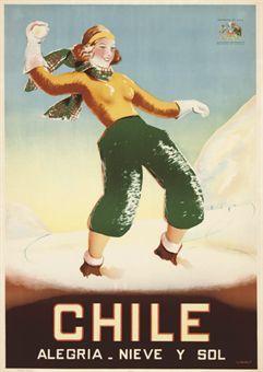 vintage ski poster - CHILE