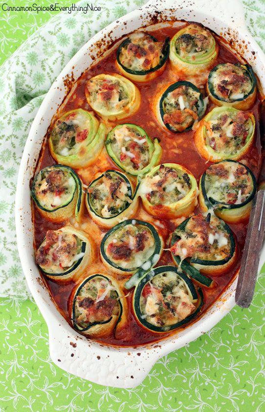 Cheesy Chicken & Broccoli Zucchini Roll-ups LOW CARB:)