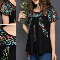 Винтаж 70 S гребешок топ хиппи мексиканская BOHO рубашка этническая цветочные вышитая блузка 100% хлопок женская одежда XS L