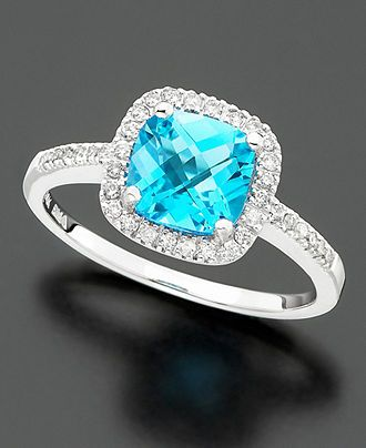 14k White Gold Ring, Blue Topaz (1-3/8 ct. t.w.) and Diamond (1/5 ct. t.w.) - Rings - Jewelry & Watches - Macy's