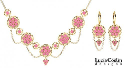 14K Yellow Gold Plated over .925 Sterling Silver Necklace and Earrings Multi Flower Set by Lucia Costin with Pink Swarovski Crystals and 3 Stones Dangle, Garnished with Lace Ornaments and Suspended Chains Lucia Costin. $209.00. Floral jewelry set by Lucia Costin. Handmade in USA unique jewelry set. Style takes wings in this lovely jewelry set that have a graceful flower shape. Floral design accompanied by cute details. Amazingly studded with rose Swarovski crystals