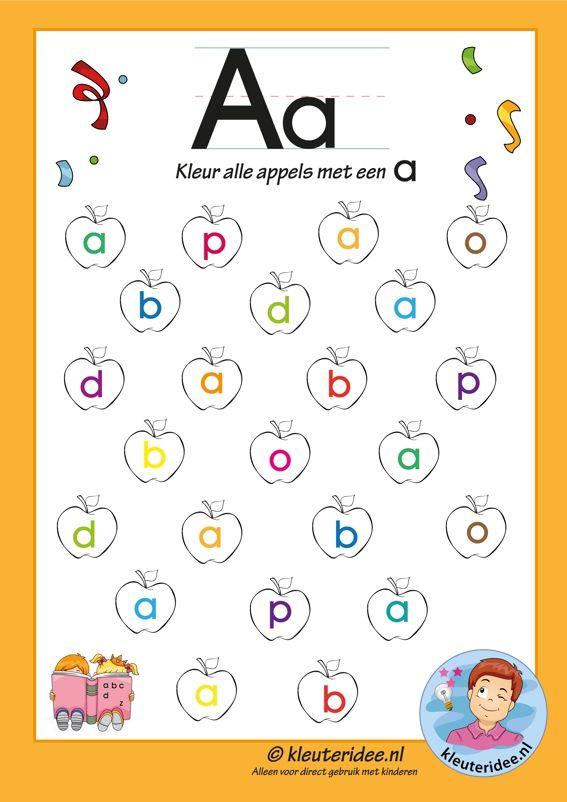 Pakket over de letter a blad 6, kleur alle appels met een a, letters aanbieden aan kleuters, kleuteridee.nl, free printable.