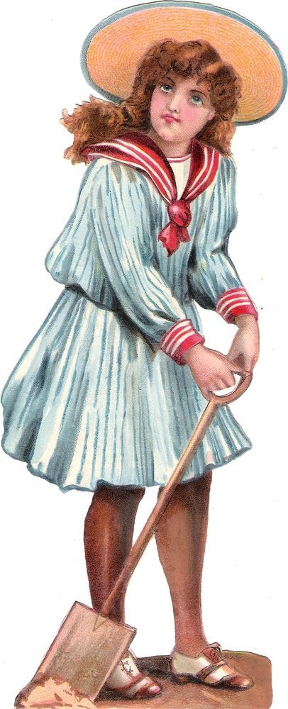 Oblaten Glanzbild scrap die cut chromo Kind child XL 23,5 cm lady marin girl