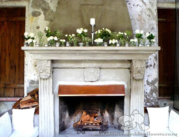 Mantells Flower Fireplace Table Setting Decor Wedding Mantle Babys Breath Centerpiece