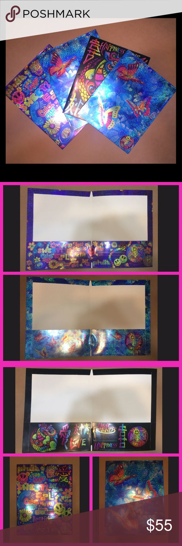 🌈RARE🌈 Vintage Lisa Frank Glitter Bundle Set of four, 90's Lisa Frank folders. These have never been used and still have the holes in tact. These prints are very rare and are no longer in production. Accessories