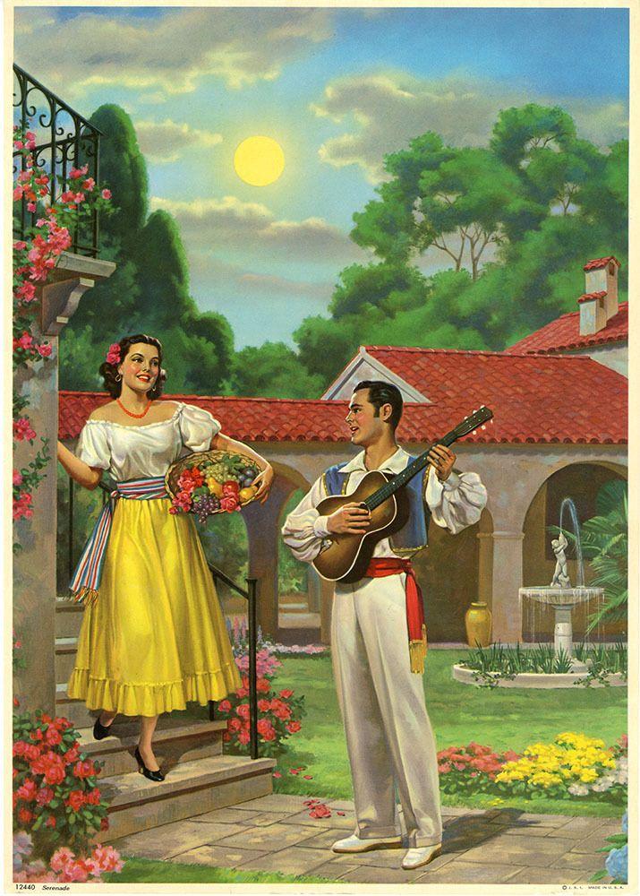 Vintage 1940s Art Deco Mexican Lovely Serenade Romantic