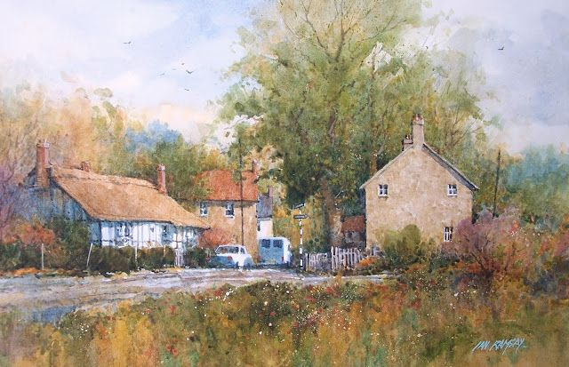 "Wivenhoe, Essex, England  watercolor  14"" x 21 1/2""  SOLD        Market Town, Dorset, England  watercolor  9"" x 12"" SOLD        Dusk, Hong..."