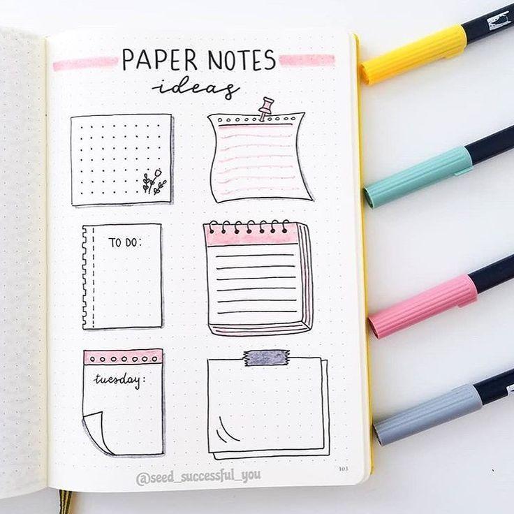 """Bullet Journal Tutorials auf Instagram: """"Paper Notes Ideas"""