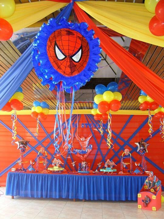 Hombre arana fiesta de spiderman pinterest for Cuartos decorados hombre arana