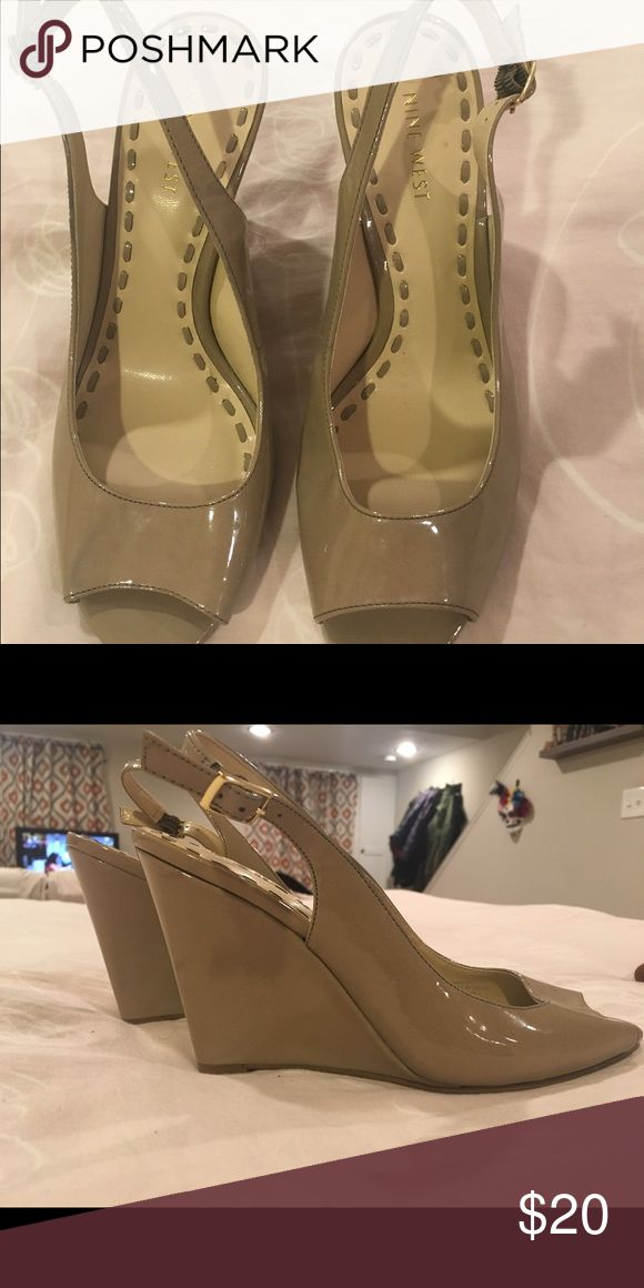 Nine West patent leather wedges Tan Wedges Nine West Shoes Wedges