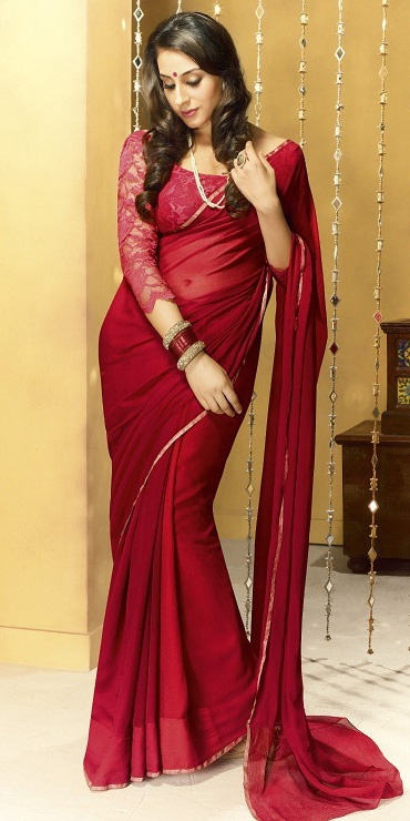 Red Faux Georgette Saree. With long lace sleeves. Based on a Bollywood sari seen in Dabangg 2.