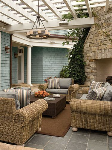 The All American Space: Thanks To Outdoor Wicker Furniture That Looks Like  It Could Reside Indoors, This Patio Gives Off A Relaxed, But Traditional  Vibe.